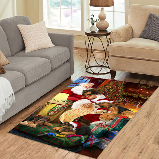 Santa Sleeping with Airedale Dogs Area Rug
