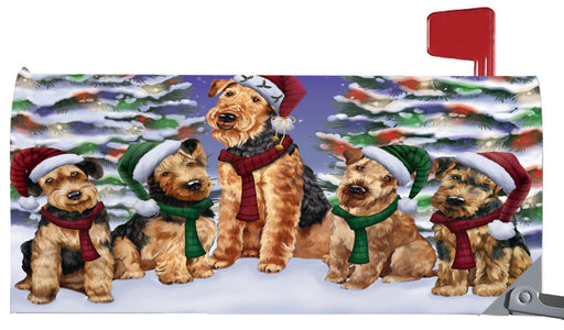 Magnetic Mailbox Cover Airedales Dog Christmas Family Portrait in Holiday Scenic Background MBC48184