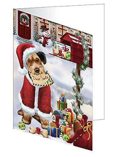 Airedales Dear Santa Letter Christmas Holiday Mailbox Dog Greeting Card