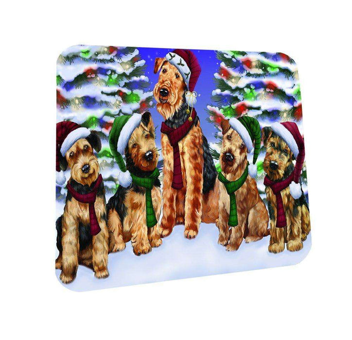 Airedales Dog Christmas Family Portrait in Holiday Scenic Background Coasters Set of 4