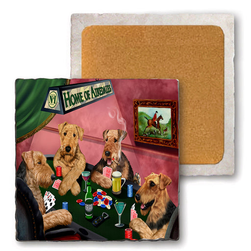 Set of 4 Natural Stone Marble Tile Coasters - Home of Airedale 4 Dogs Playing Poker MCST48000