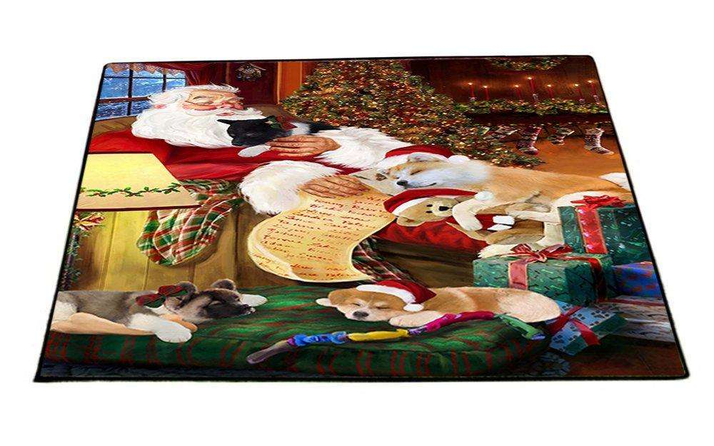 Akita Dog and Puppies Sleeping with Santa Indoor/Outdoor Floormat