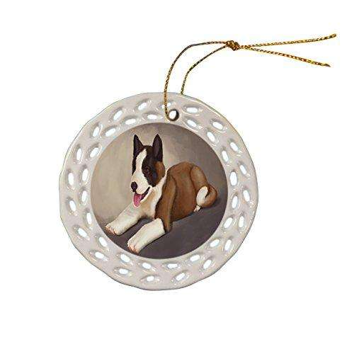 Akita Dog Christmas Doily Ceramic Ornament