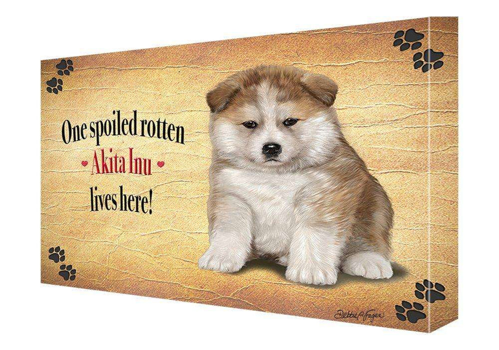 Akita Inu Spoiled Rotten Dog Painting Printed on Canvas Wall Art Signed