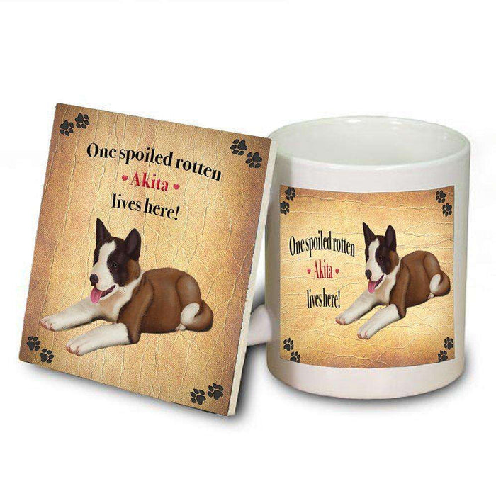 Akita Spoiled Rotten Dog Coaster and Mug Combo Gift Set