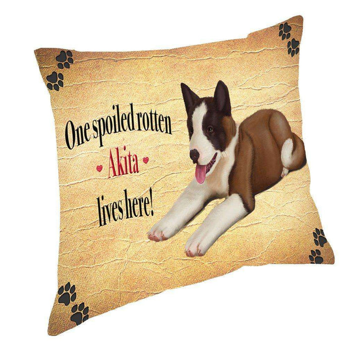 Akita Spoiled Rotten Dog Throw Pillow
