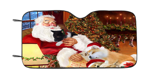 Santa Sleeping with Akita Dogs Car Sun Shade