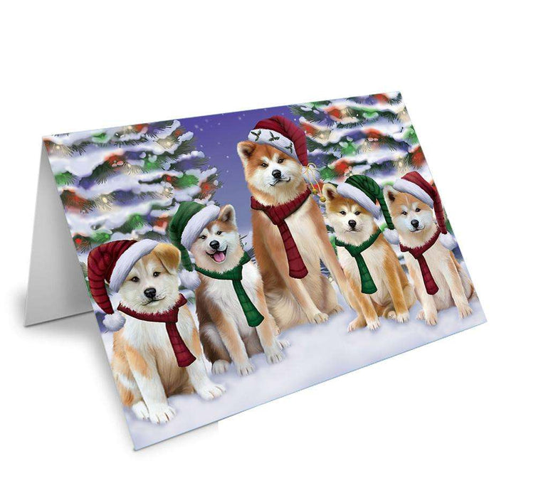 Akitas Dog Christmas Family Portrait in Holiday Scenic Background Greeting Card GCD62138