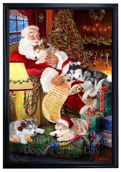 Alaskan Malamute Dog and Puppies Sleeping with Santa Framed Canvas Print Wall Art