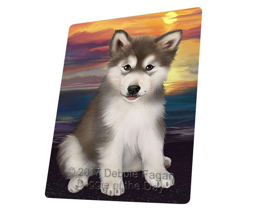 Alaskan Malamute Dog Art Portrait Print Woven Throw Sherpa Plush Fleece Blanket D373