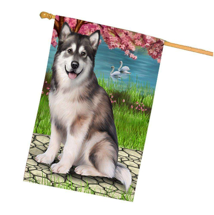 Alaskan Malamute Dog House Flag HF404