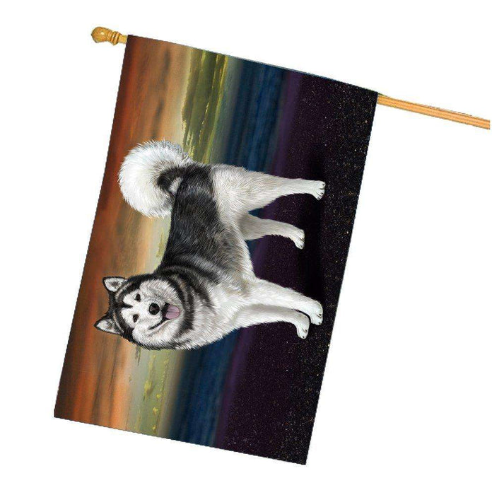 Alaskan Malamute Dog House Flag