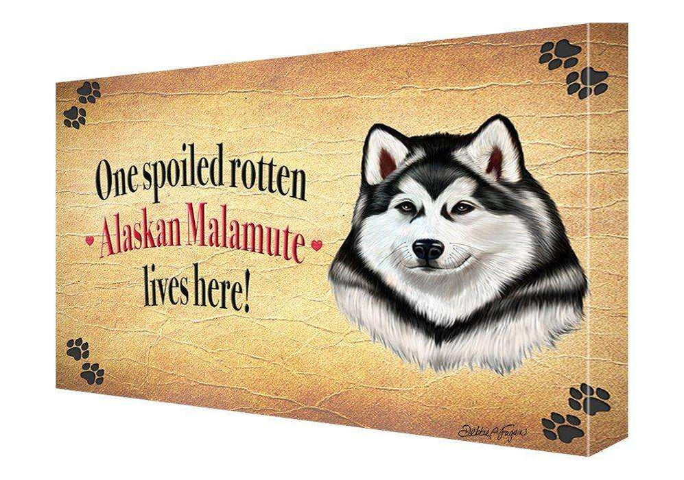 Alaskan Malamute Spoiled Rotten Dog Painting Printed on Canvas Wall Art Signed