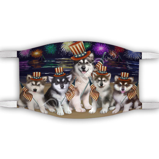 4th of July Independence Day Alaskan Malamute Dogs Face Mask FM49364