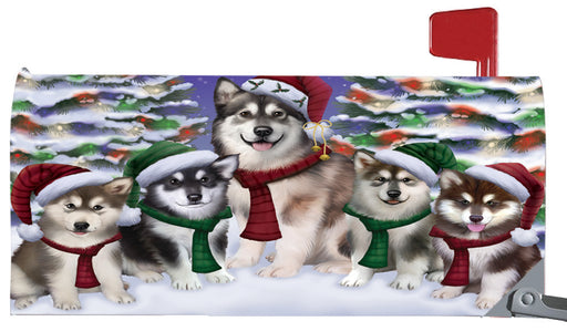 Magnetic Mailbox Cover Alaskan Malamutes Dog Christmas Family Portrait in Holiday Scenic Background MBC48186