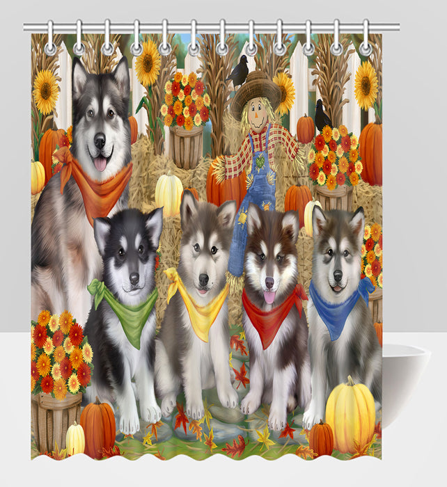Fall Festive Harvest Time Gathering Alaskan Malamute Dogs Shower Curtain