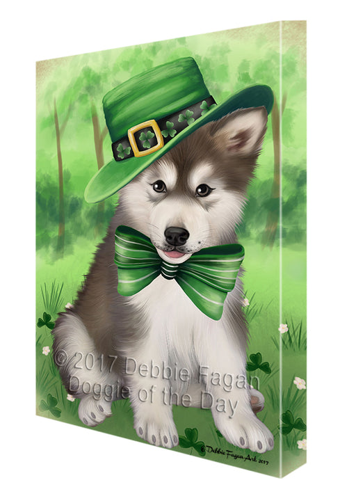 St Patricks Day Irish Portrait Alaskan Malamute Dog Canvas Wall Art CVS49242