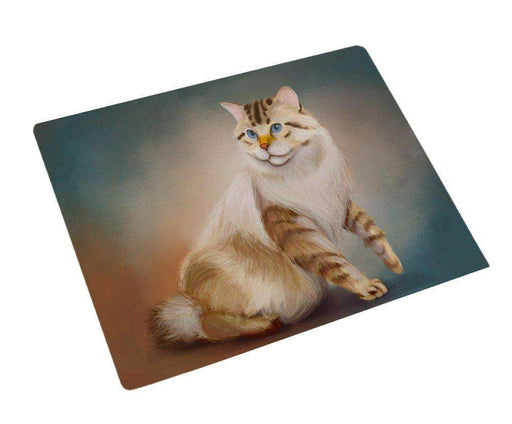 American Bobtail Cat Art Portrait Print Woven Throw Sherpa Plush Fleece Blanket