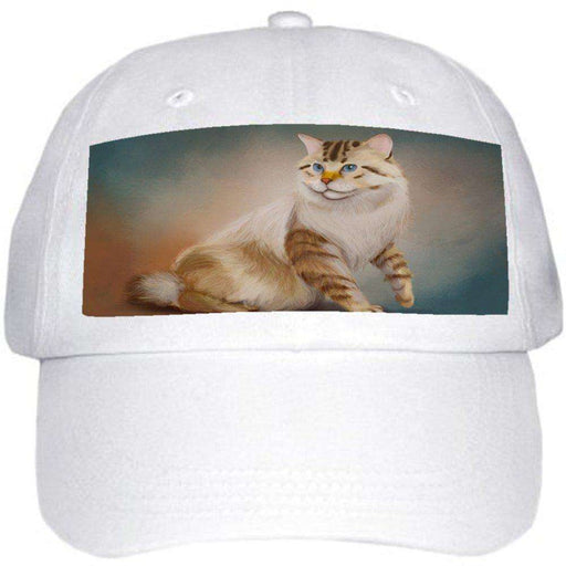 American Bobtail Cat Ball Hat Cap Off White