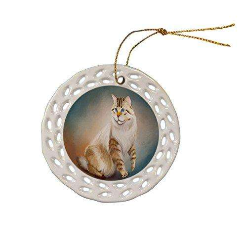 American Bobtail Cat Christmas Doily Ceramic Ornament