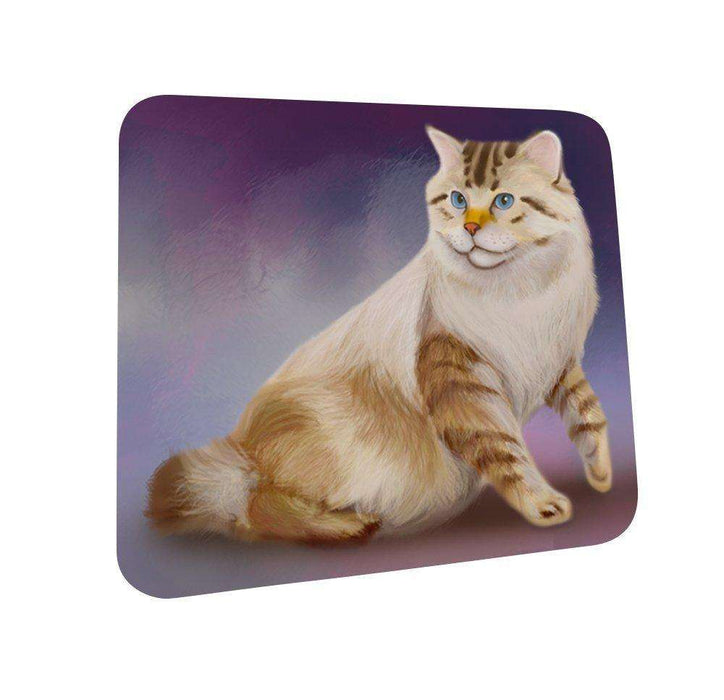 American Bobtail Cat Coasters Set of 4