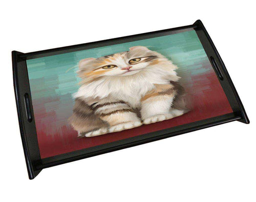 American Curl Cat Black Wood Serving Tray