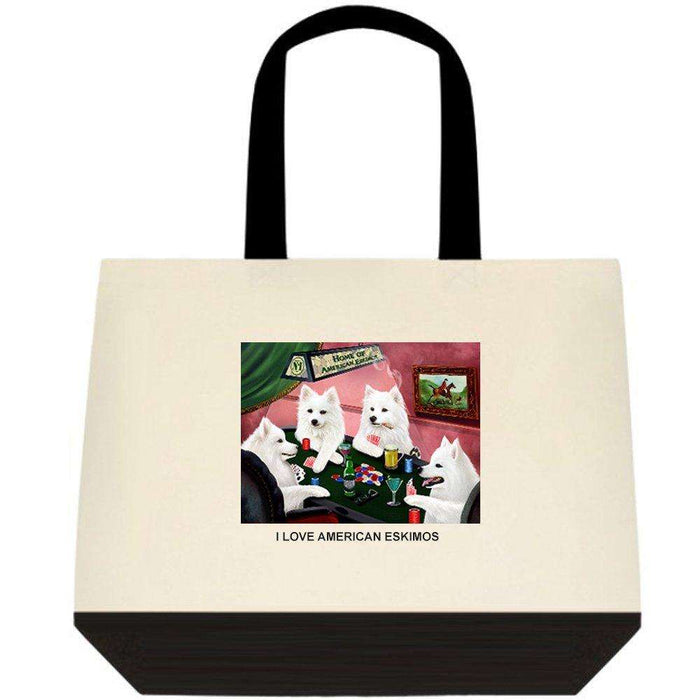 American Eskimo 4 Dogs Playing Poker Two-Tone Deluxe Classic Cotton Tote Bags