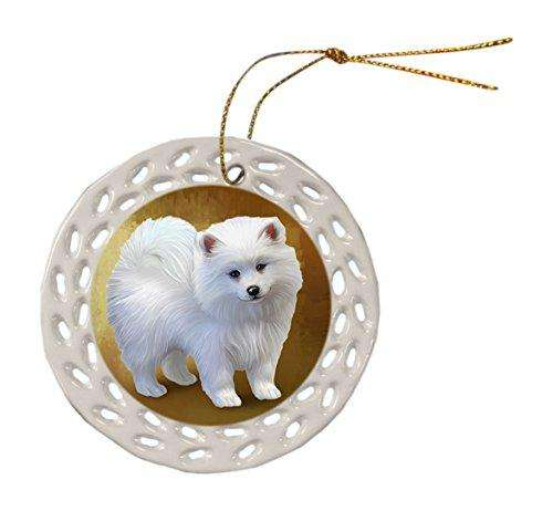 American Eskimo Dog Christmas Doily Ceramic Ornament
