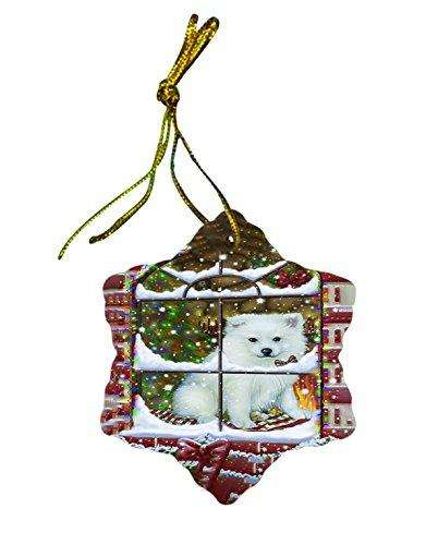 American Eskimo Dog Christmas Snowflake Ceramic Ornament