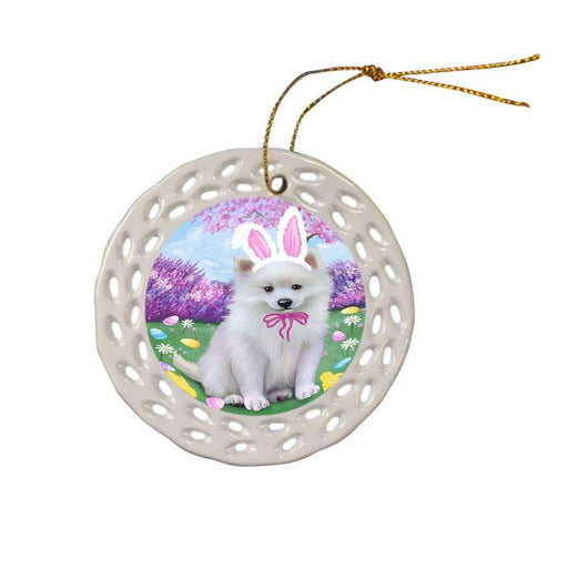 American Eskimo Dog Easter Holiday Ceramic Doily Ornament DPOR54231