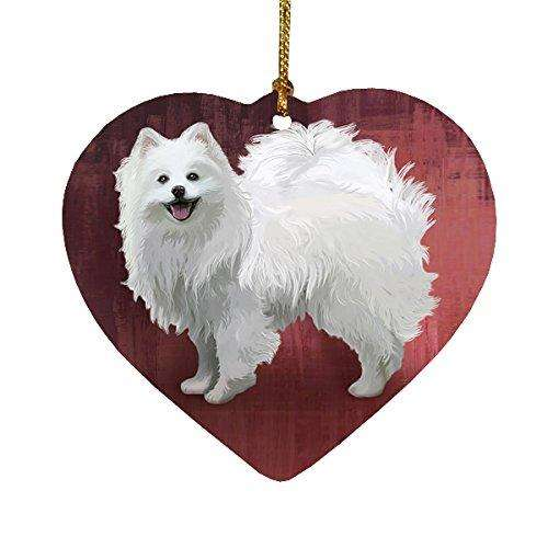 American Eskimo Dog Heart Christmas Ornament