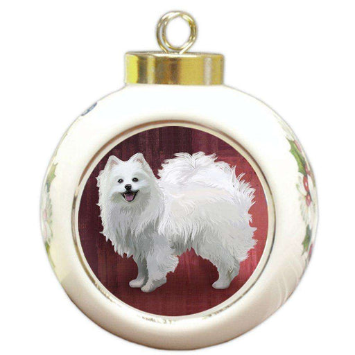 American Eskimo Dog Round Ball Christmas Ornament