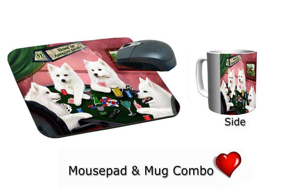 American Eskimo Dogs Playing Poker Mug & Mousepad Combo Gift Set