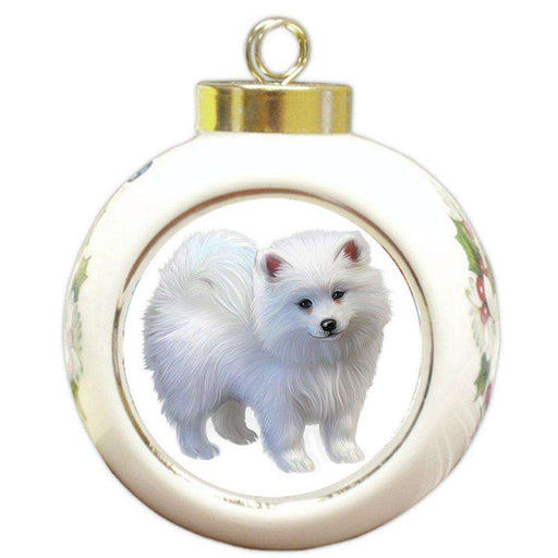 American Eskimo Puppy Dog Round Ball Christmas Ornament