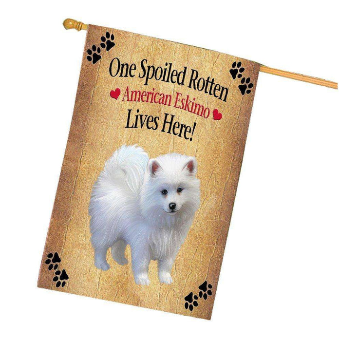American Eskimo Puppy Spoiled Rotten Dog House Flag