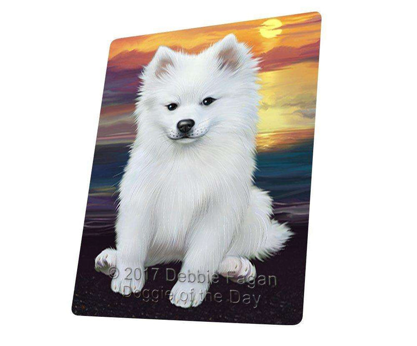 American Eskimos Dog Art Portrait Print Woven Throw Sherpa Plush Fleece Blanket D379