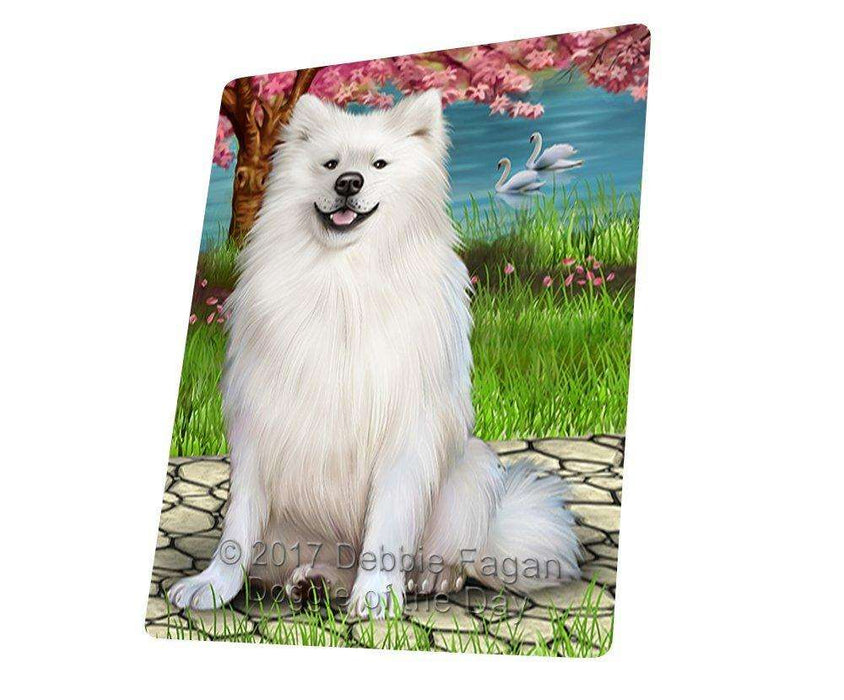 American Eskimos Dog Art Portrait Print Woven Throw Sherpa Plush Fleece Blanket D381
