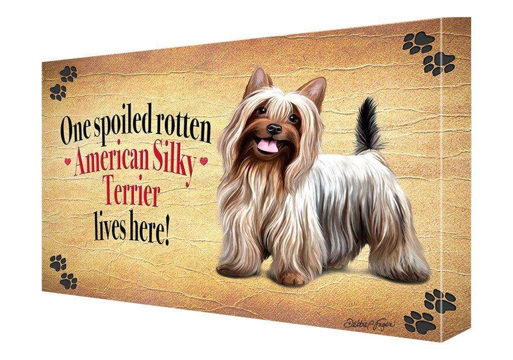 American Silky Terrier Spoiled Rotten Dog Painting Printed on Canvas Wall Art Signed