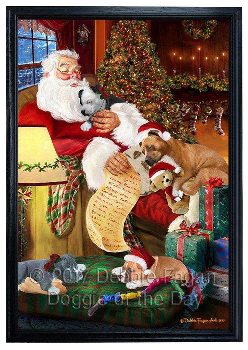 American Staffordshire Dog and Puppies Sleeping with Santa Framed Canvas Print Wall Art