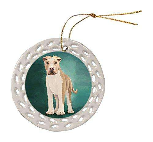 American Staffordshire Dog Christmas Doily Ceramic Ornament
