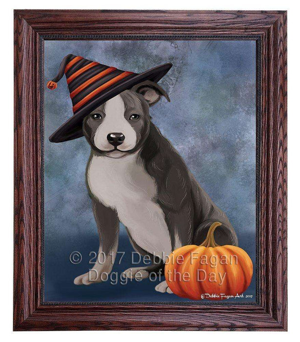 American Staffordshire Dog Wearing Witch Hat with Pumpkin Framed Canvas Print Wall Art