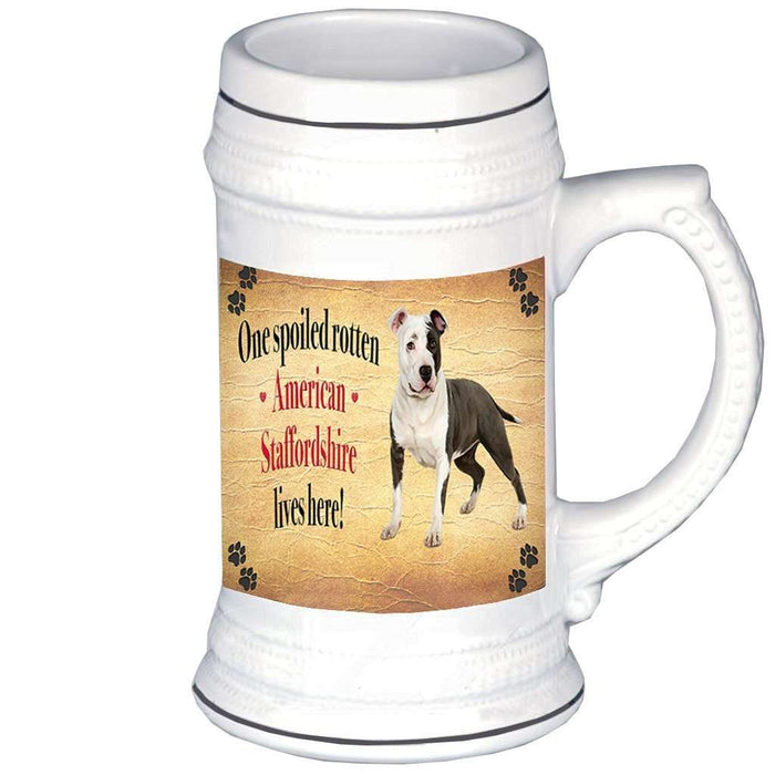 American Staffordshire Spoiled Rotten Dog Beer Stein
