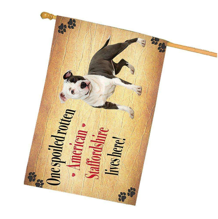 American Staffordshire Spoiled Rotten Dog House Flag