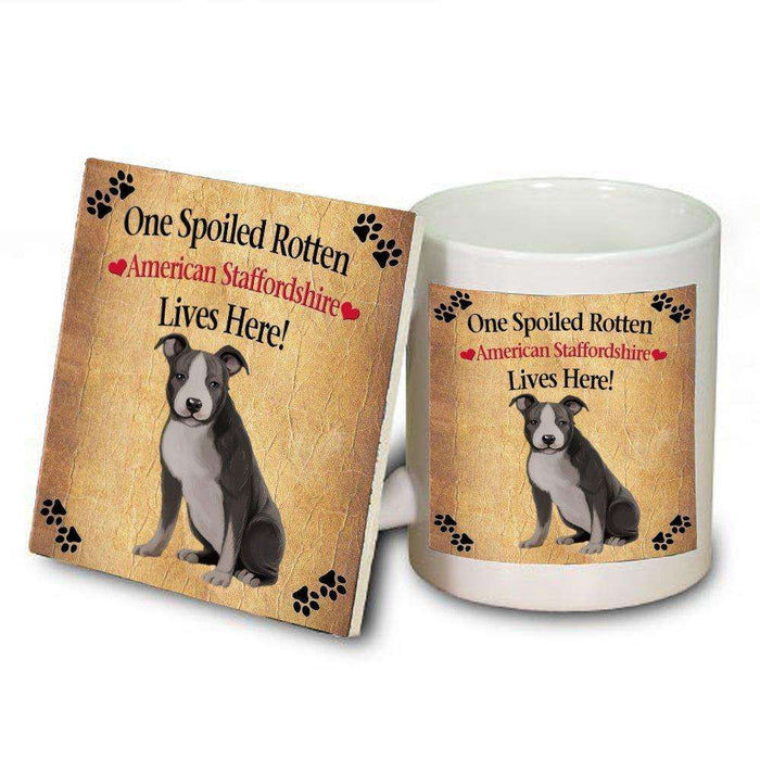 American Staffordshire Spoiled Rotten Dog Mug and Coaster Set