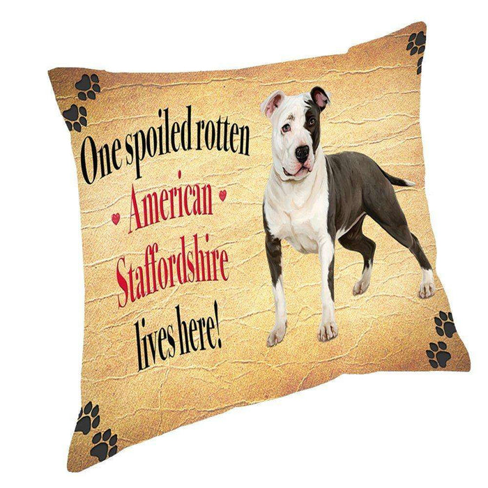 American Staffordshire Spoiled Rotten Dog Throw Pillow