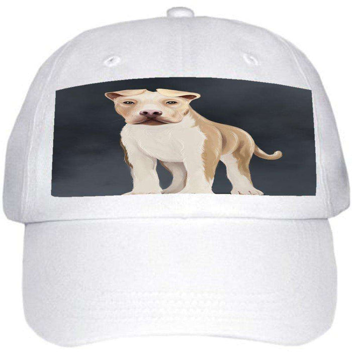 American Staffordshire Terrier Dog Ball Hat Cap Off White
