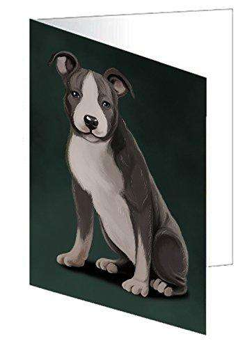 American Staffordshire Terrier Grey And White Dog Greeting Card