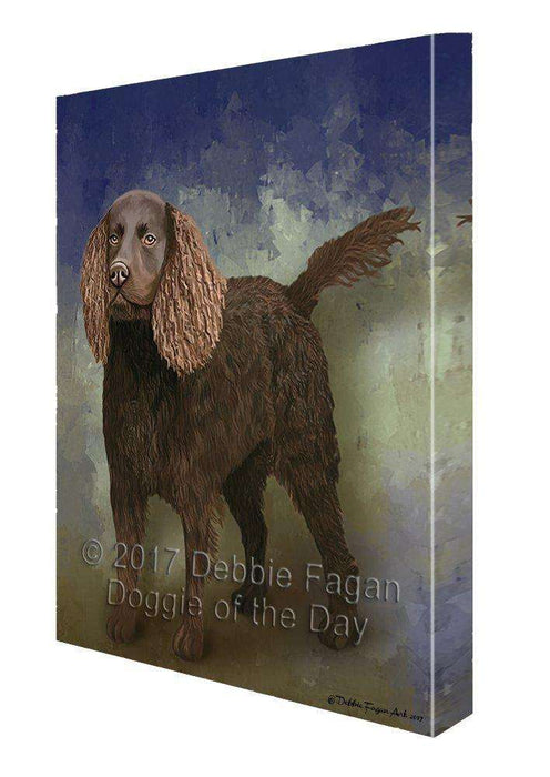 American Water Spaniel Dog Painting Printed on Canvas Wall Art