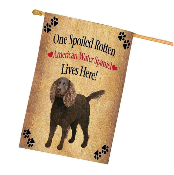 American Water Spaniel Spoiled Rotten Dog House Flag