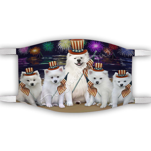 4th of July Independence Day American Eskimo Dogs Face Mask FM49366